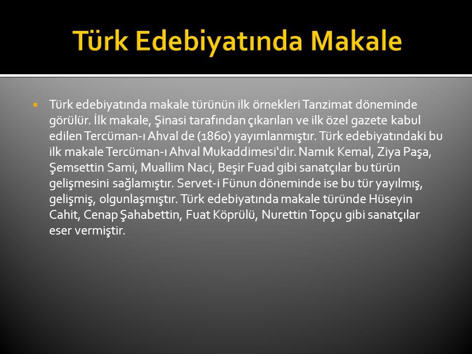 Türk Edebiyatında Makale