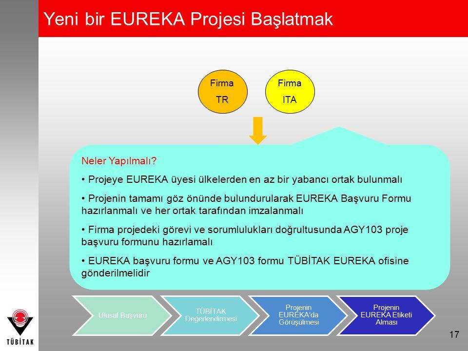 Yeni bir EUREKA Projesi Başlatmak