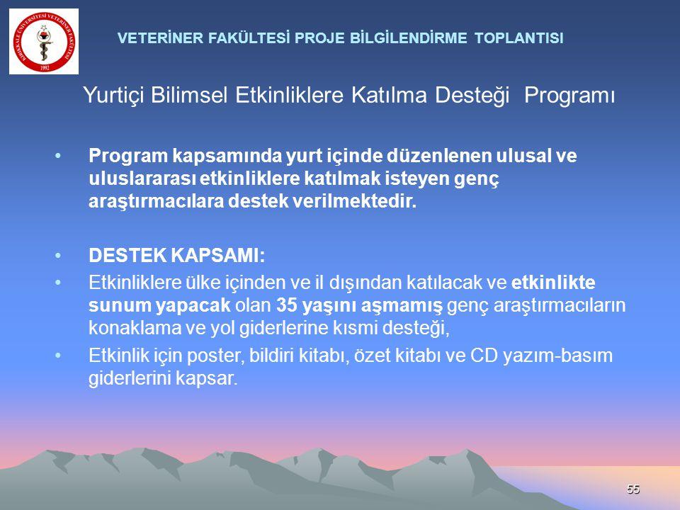 Yurtiçi Bilimsel Etkinliklere Katılma Desteği Programı