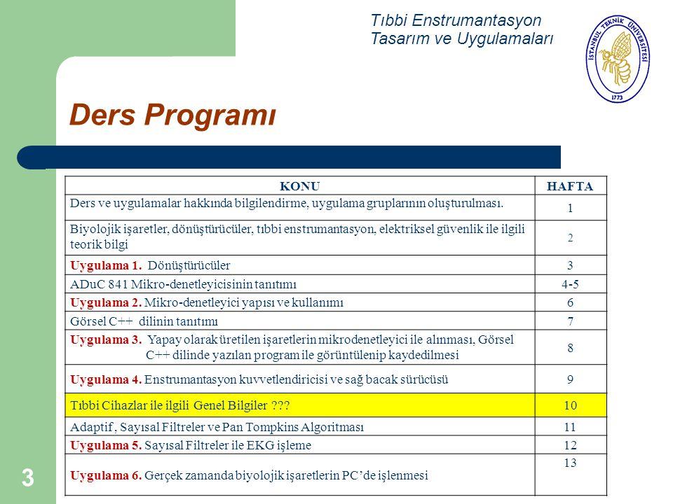 Ders Programı Tıbbi Enstrumantasyon Tasarım ve Uygulamaları KONU HAFTA