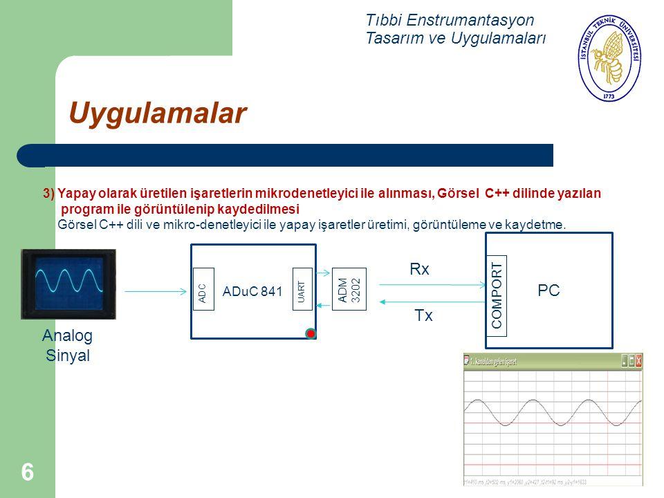 Uygulamalar Tıbbi Enstrumantasyon Tasarım ve Uygulamaları Rx PC Tx