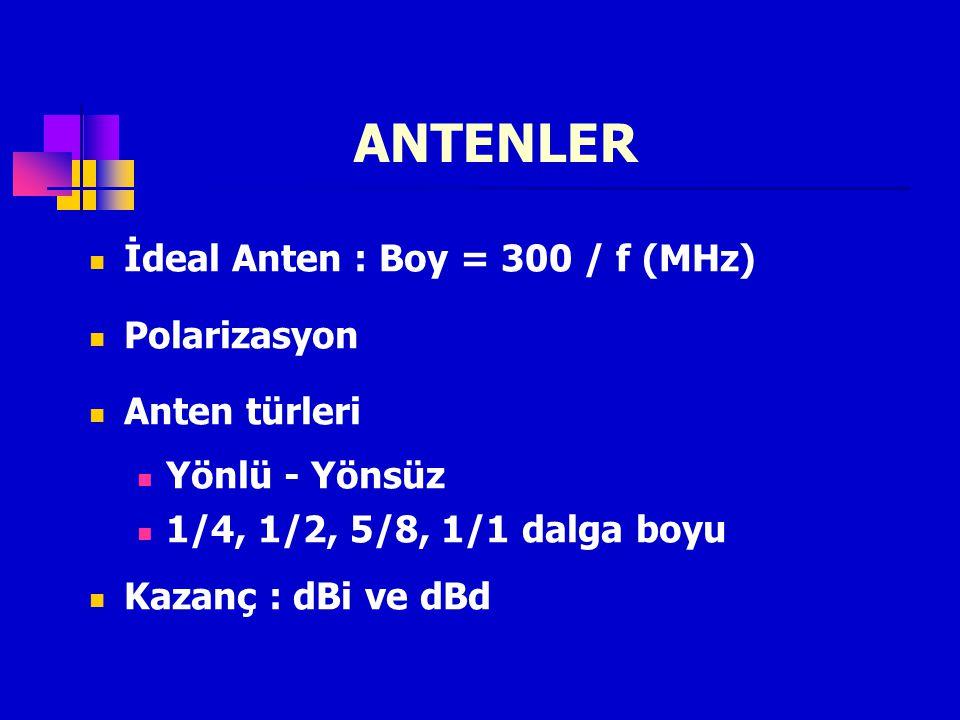 ANTENLER İdeal Anten : Boy = 300 / f (MHz) Polarizasyon Anten türleri