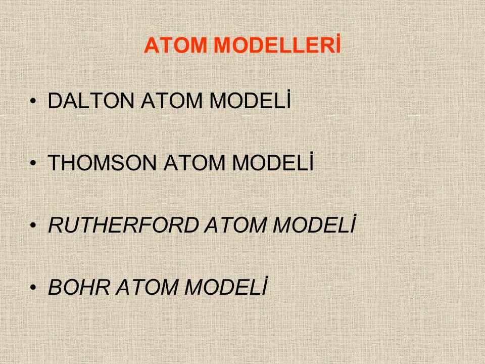 ATOM MODELLERİ DALTON ATOM MODELİ THOMSON ATOM MODELİ RUTHERFORD ATOM MODELİ BOHR ATOM MODELİ