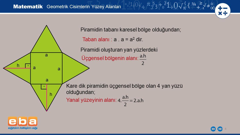 . . Piramidin tabanı karesel bölge olduğundan;