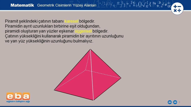 Piramit şeklindeki çatının tabanı karesel bölgedir.