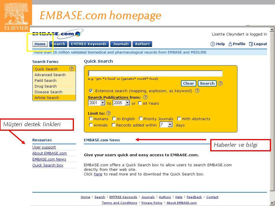 EMBASE.com homepage Müşteri destek linkleri Haberler ve bilgi