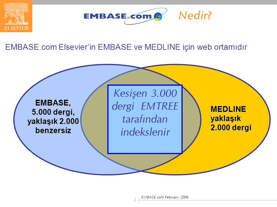 EMBASE, 5.000 dergi, yaklaşık 2.000 benzersiz