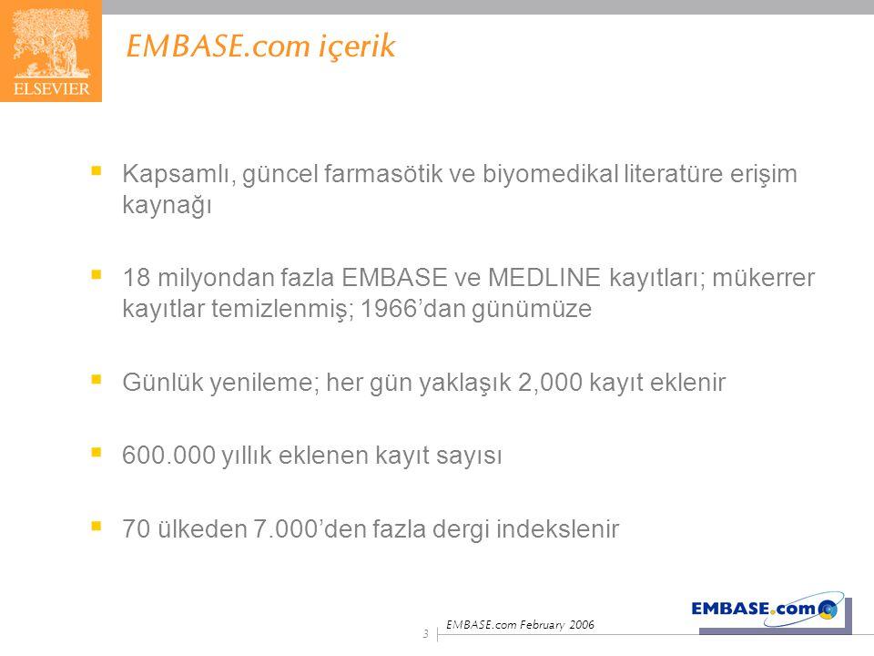EMBASE.com içerik Kapsamlı, güncel farmasötik ve biyomedikal literatüre erişim kaynağı.