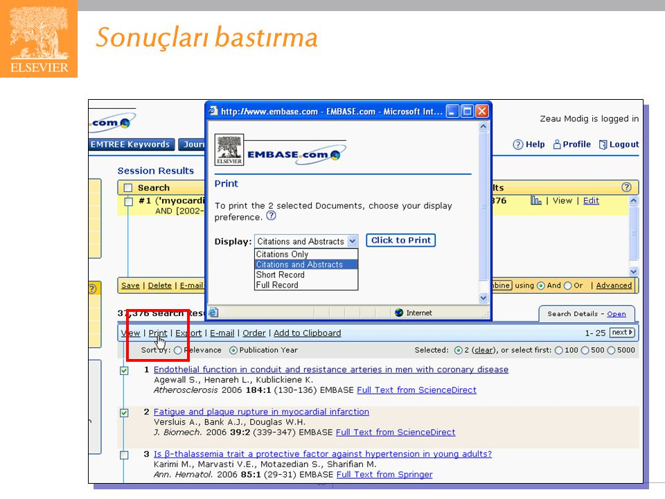 Sonuçları bastırma More choices for printing database records are now available, giving you greater flexibility in managing your output: