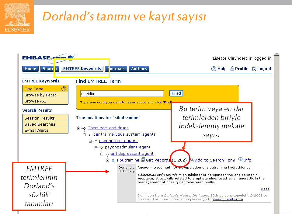 Dorland's tanımı ve kayıt sayısı