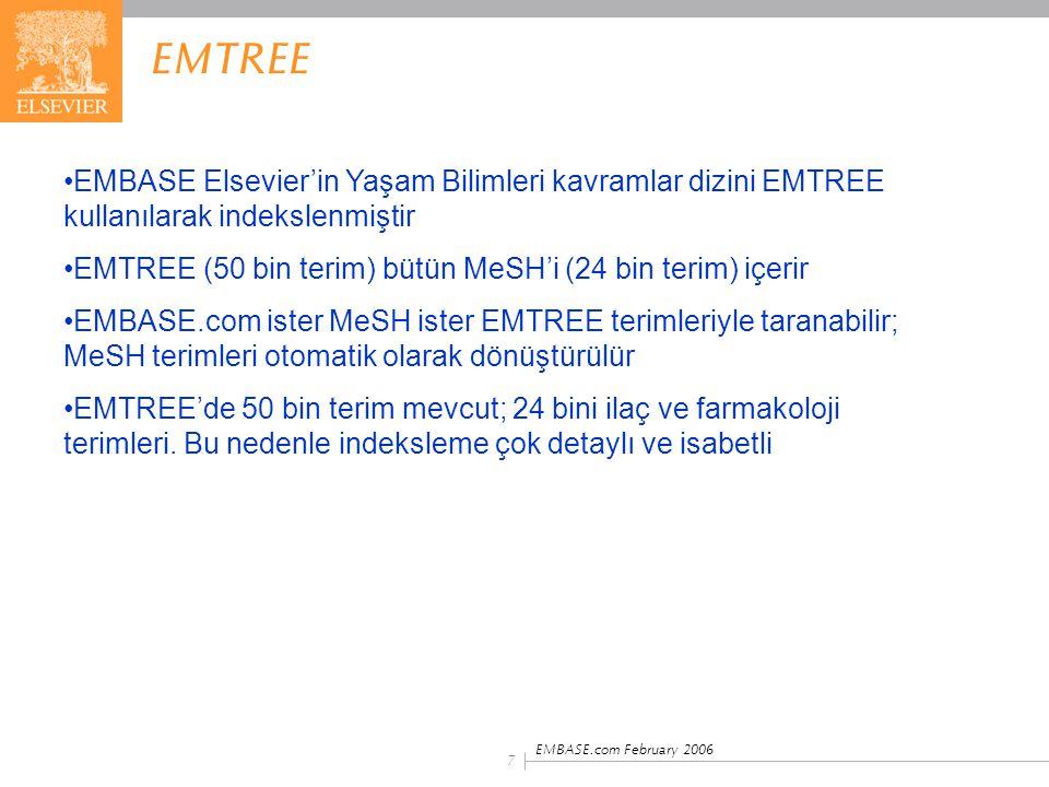 EMTREE EMBASE Elsevier'in Yaşam Bilimleri kavramlar dizini EMTREE kullanılarak indekslenmiştir.