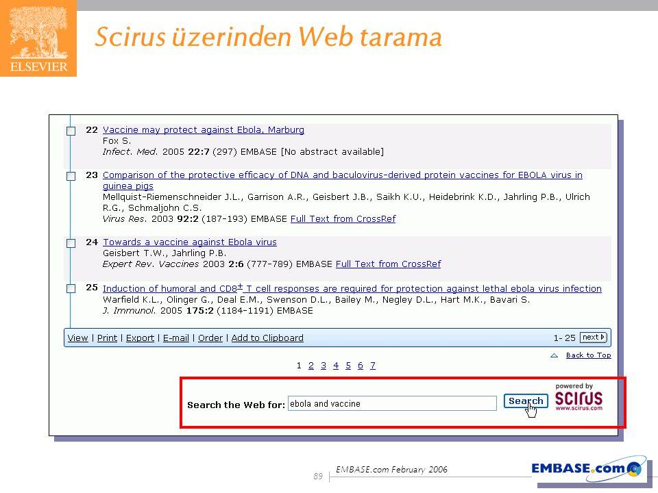 Scirus üzerinden Web tarama