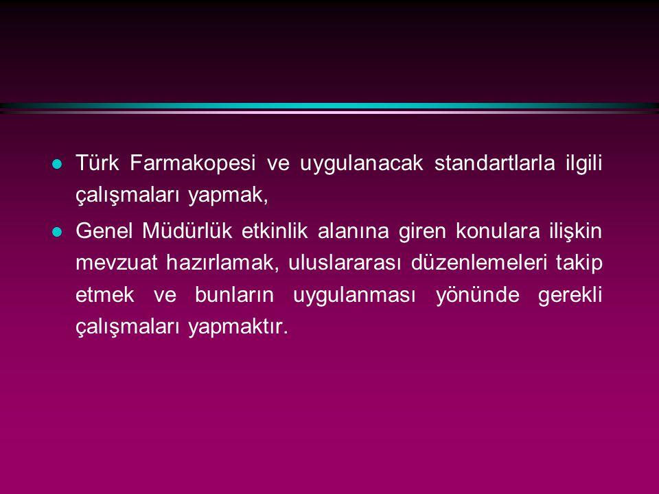 Türk Farmakopesi ve uygulanacak standartlarla ilgili çalışmaları yapmak,