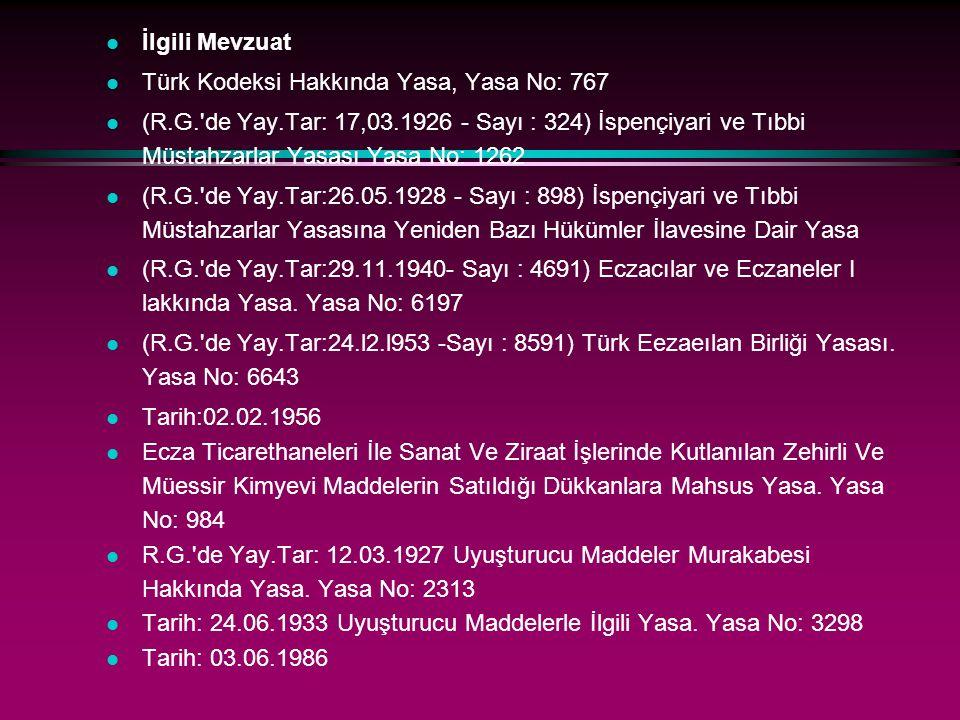 İlgili Mevzuat Türk Kodeksi Hakkında Yasa, Yasa No: 767.