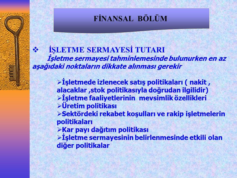 İŞLETME SERMAYESİ TUTARI