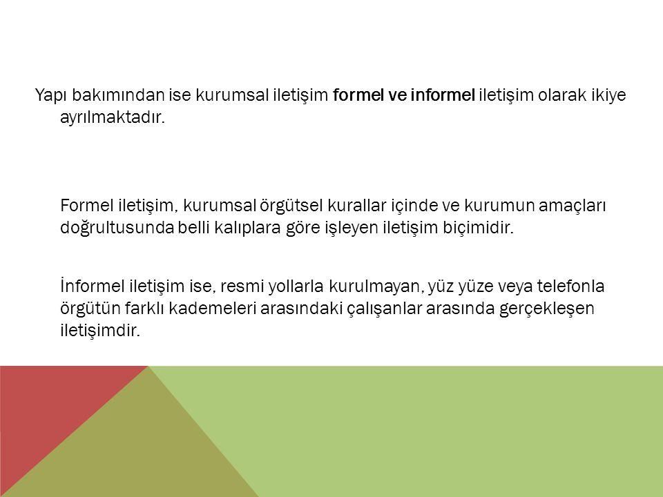 Yapı bakımından ise kurumsal iletişim formel ve informel iletişim olarak ikiye ayrılmaktadır.