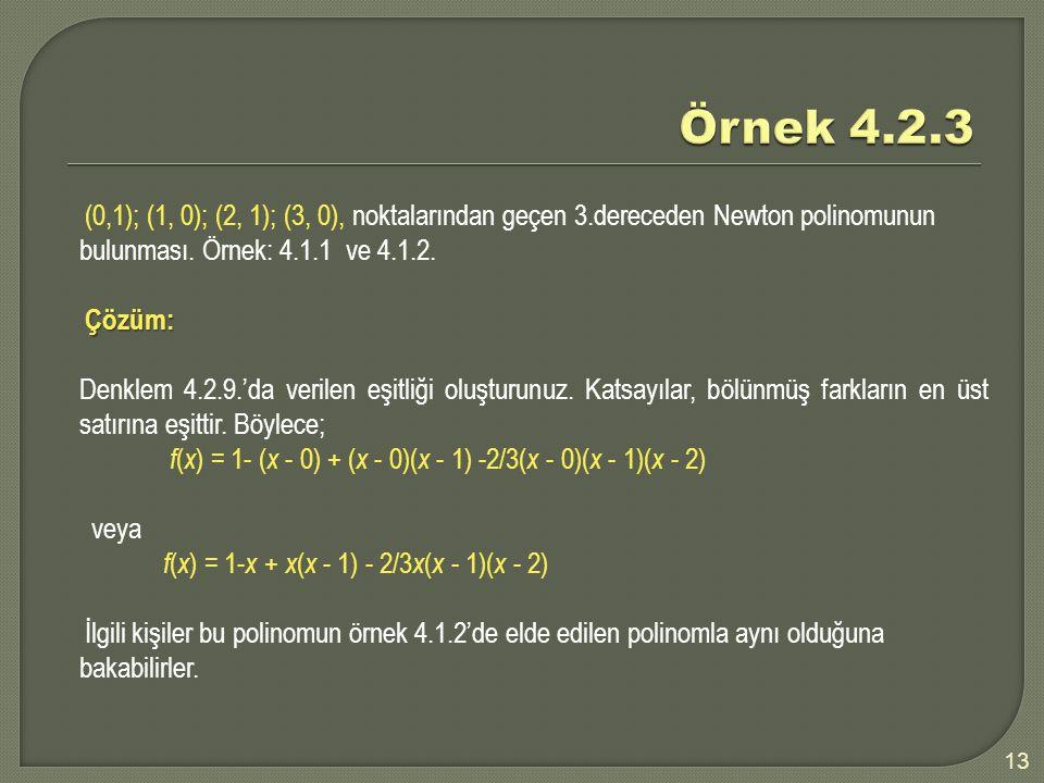Örnek 4.2.3 (0,1); (1, 0); (2, 1); (3, 0), noktalarından geçen 3.dereceden Newton polinomunun bulunması. Örnek: 4.1.1 ve 4.1.2.