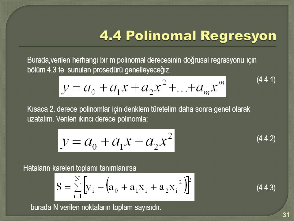 4.4 Polinomal Regresyon