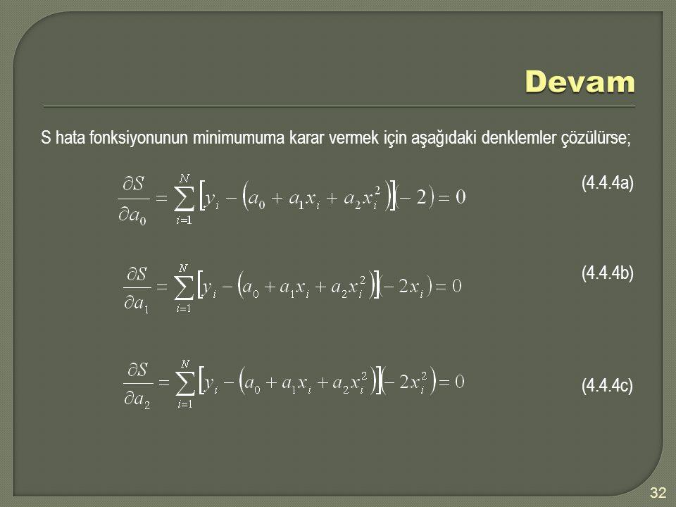 Devam S hata fonksiyonunun minimumuma karar vermek için aşağıdaki denklemler çözülürse; (4.4.4a) (4.4.4b) (4.4.4c)