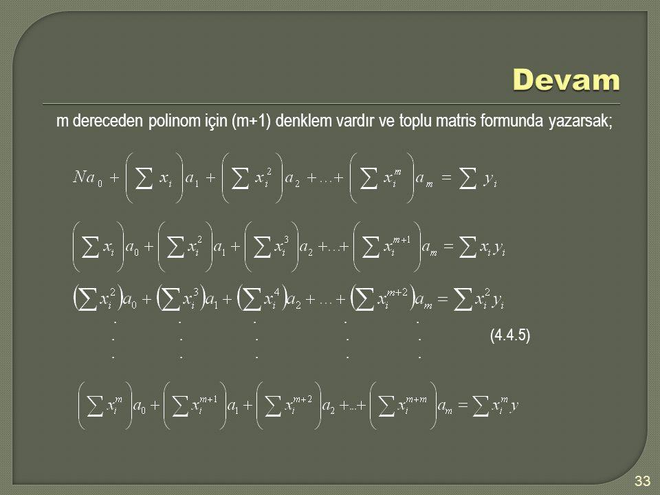 Devam m dereceden polinom için (m+1) denklem vardır ve toplu matris formunda yazarsak;