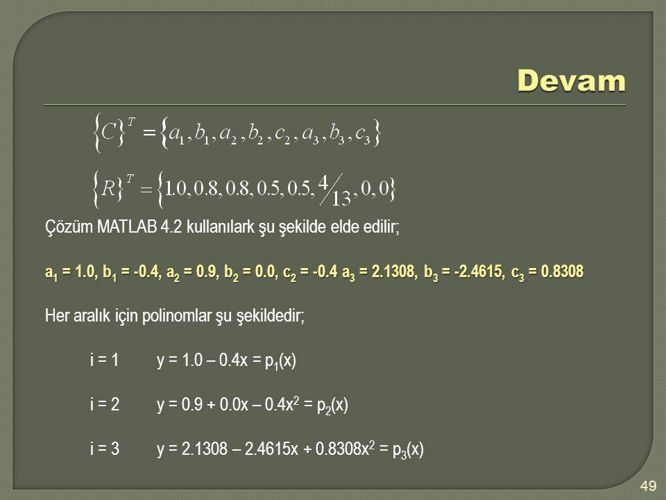 Devam Çözüm MATLAB 4.2 kullanılark şu şekilde elde edilir;