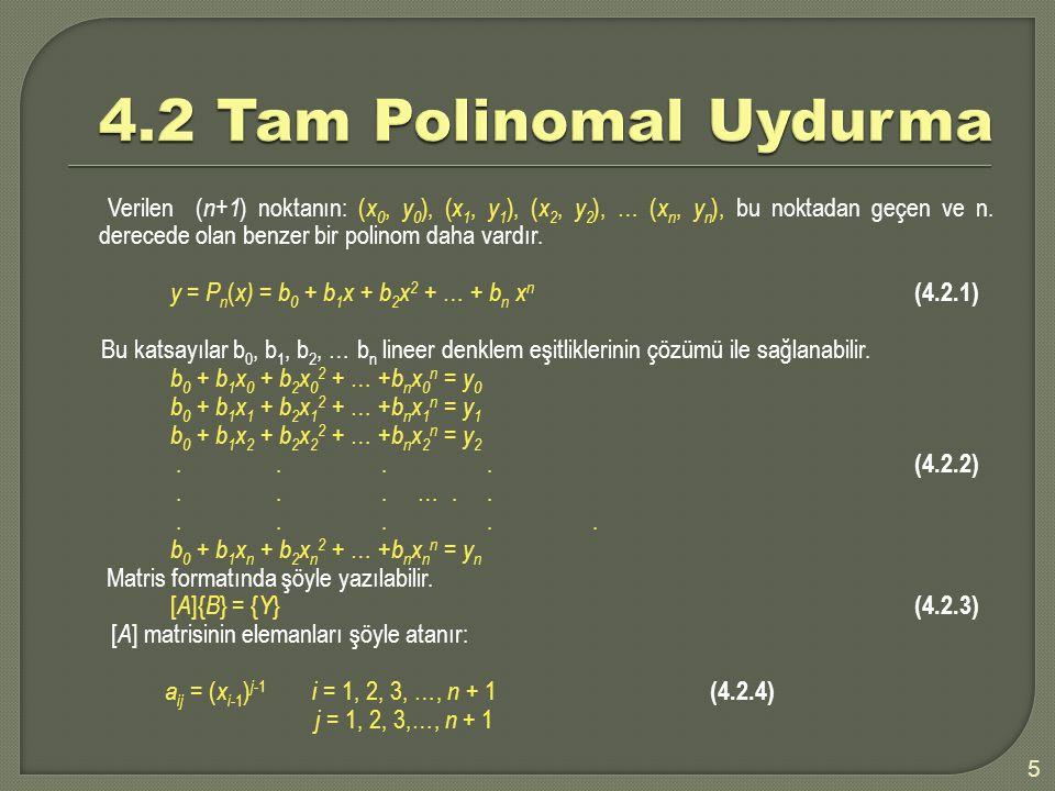 4.2 Tam Polinomal Uydurma