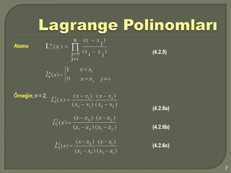 Lagrange Polinomları Atama (4.2.5) Örneğin; n = 2, (4.2.6a) (4.2.6b)
