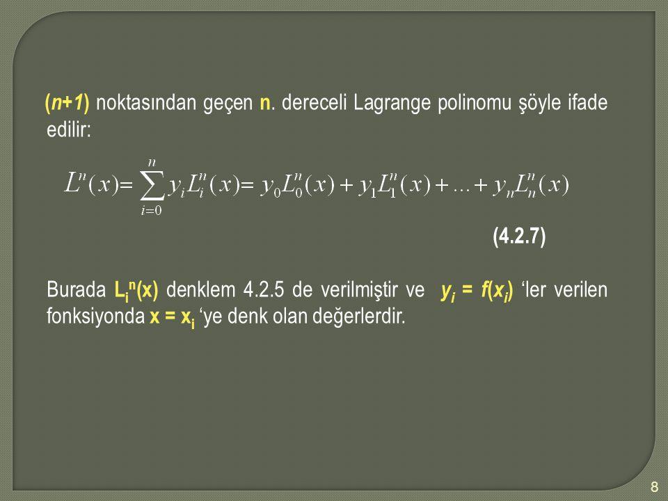 (n+1) noktasından geçen n