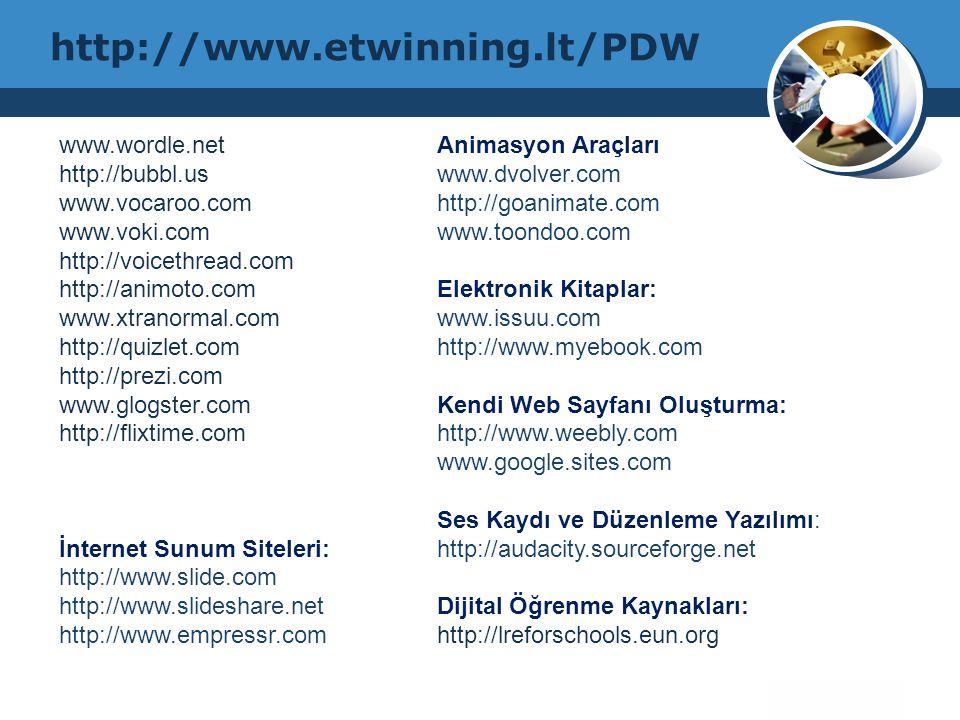 http://www.etwinning.lt/PDW www.wordle.net http://bubbl.us