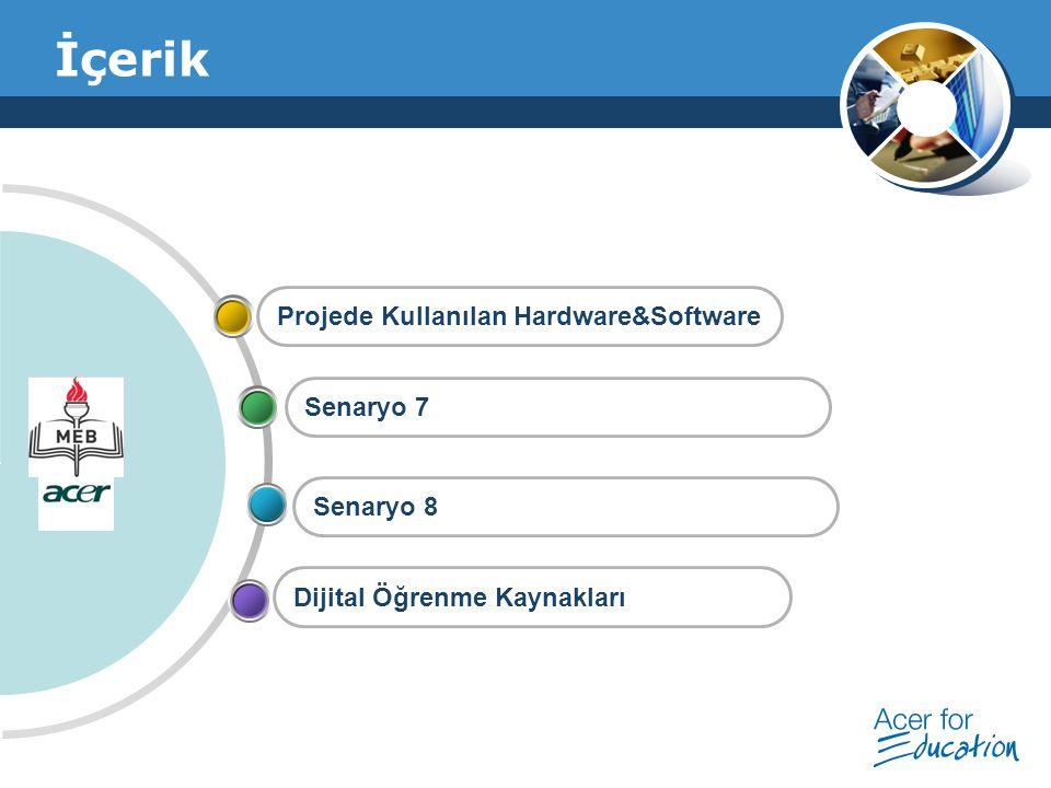 İçerik Projede Kullanılan Hardware&Software Senaryo 7 Senaryo 8