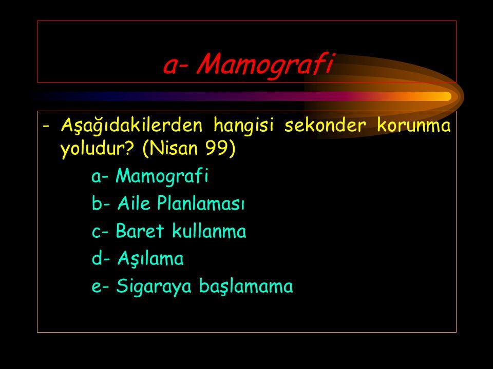 a- Mamografi - Aşağıdakilerden hangisi sekonder korunma yoludur (Nisan 99) a- Mamografi. b- Aile Planlaması.