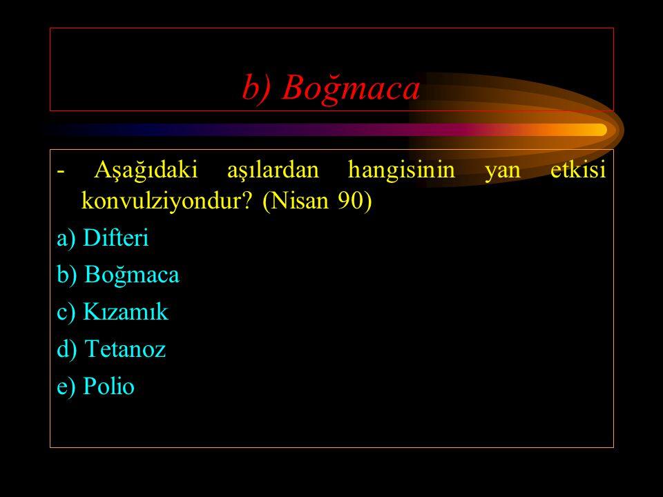b) Boğmaca - Aşağıdaki aşılardan hangisinin yan etkisi konvulziyondur (Nisan 90) a) Difteri. b) Boğmaca.