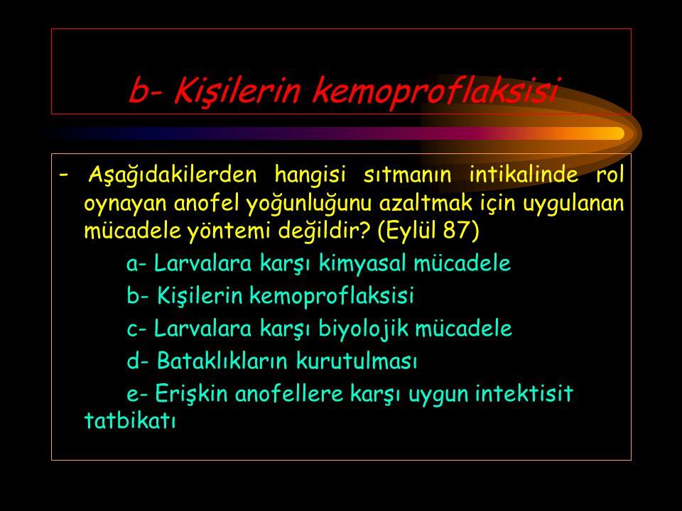 b- Kişilerin kemoproflaksisi