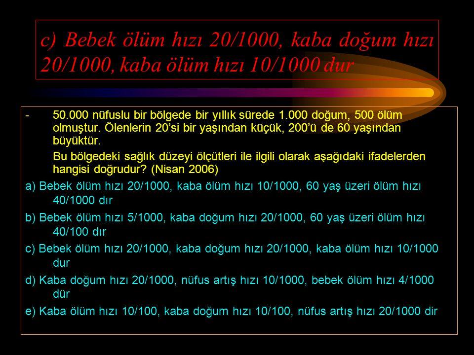 c) Bebek ölüm hızı 20/1000, kaba doğum hızı 20/1000, kaba ölüm hızı 10/1000 dur