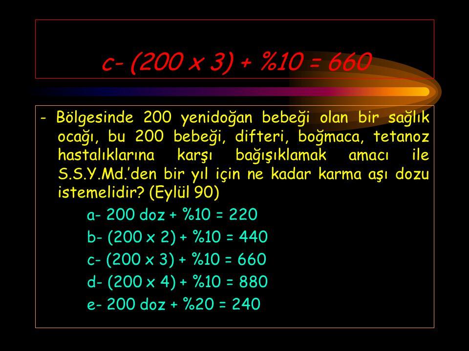 c- (200 x 3) + %10 = 660