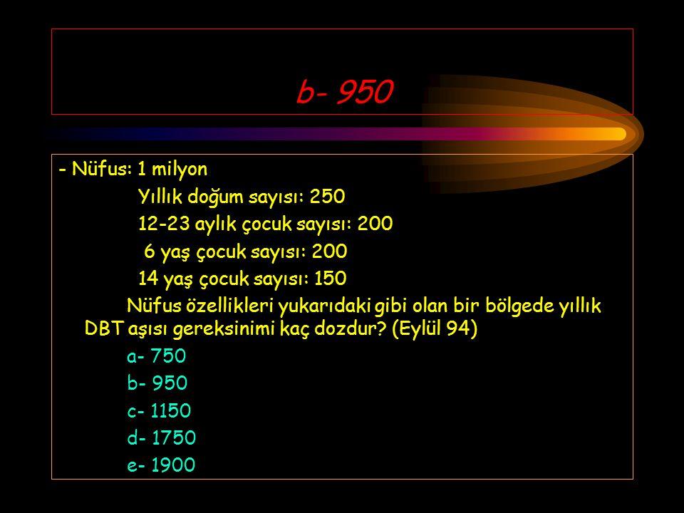 b- 950 - Nüfus: 1 milyon Yıllık doğum sayısı: 250