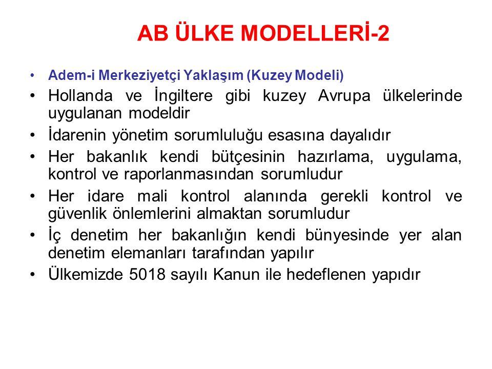 AB ÜLKE MODELLERİ-2 Adem-i Merkeziyetçi Yaklaşım (Kuzey Modeli) Hollanda ve İngiltere gibi kuzey Avrupa ülkelerinde uygulanan modeldir.