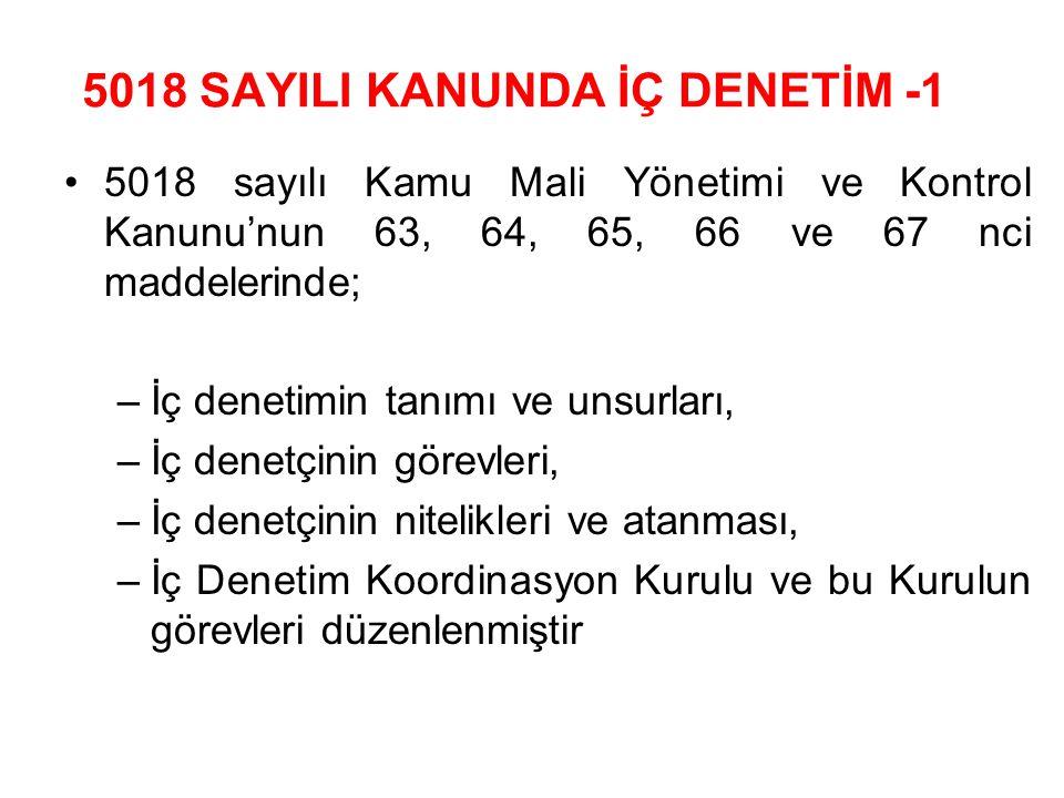 5018 SAYILI KANUNDA İÇ DENETİM -1