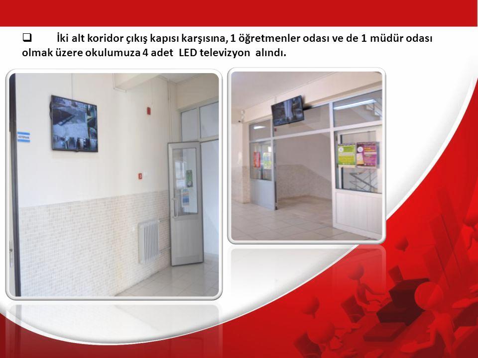 İki alt koridor çıkış kapısı karşısına, 1 öğretmenler odası ve de 1 müdür odası olmak üzere okulumuza 4 adet LED televizyon alındı.
