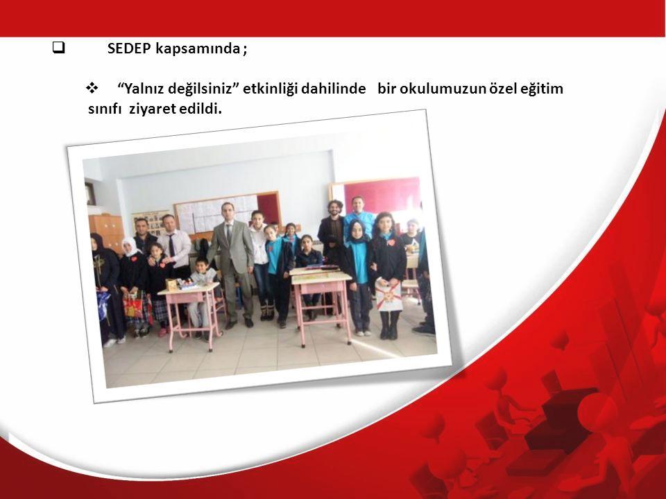 SEDEP kapsamında ; Yalnız değilsiniz etkinliği dahilinde bir okulumuzun özel eğitim.