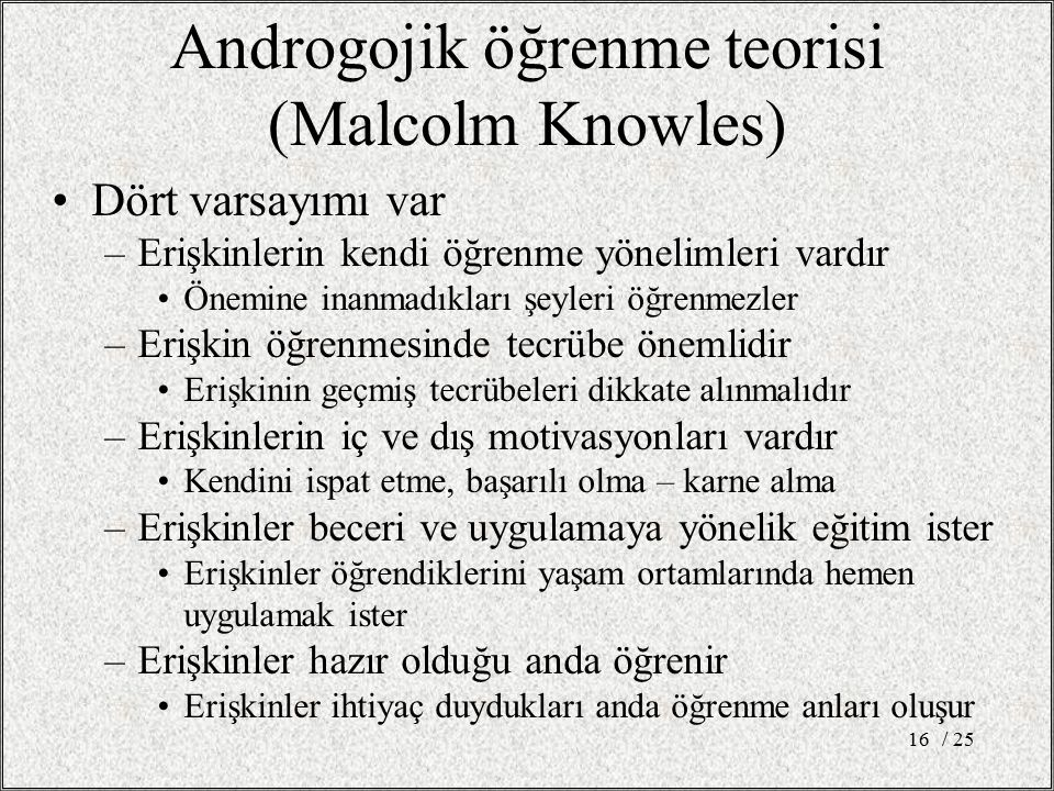 Androgojik öğrenme teorisi (Malcolm Knowles)