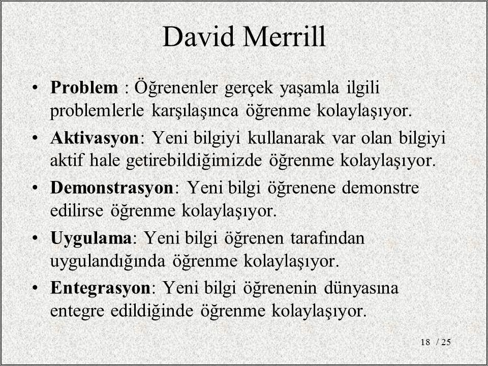 David Merrill Problem : Öğrenenler gerçek yaşamla ilgili problemlerle karşılaşınca öğrenme kolaylaşıyor.