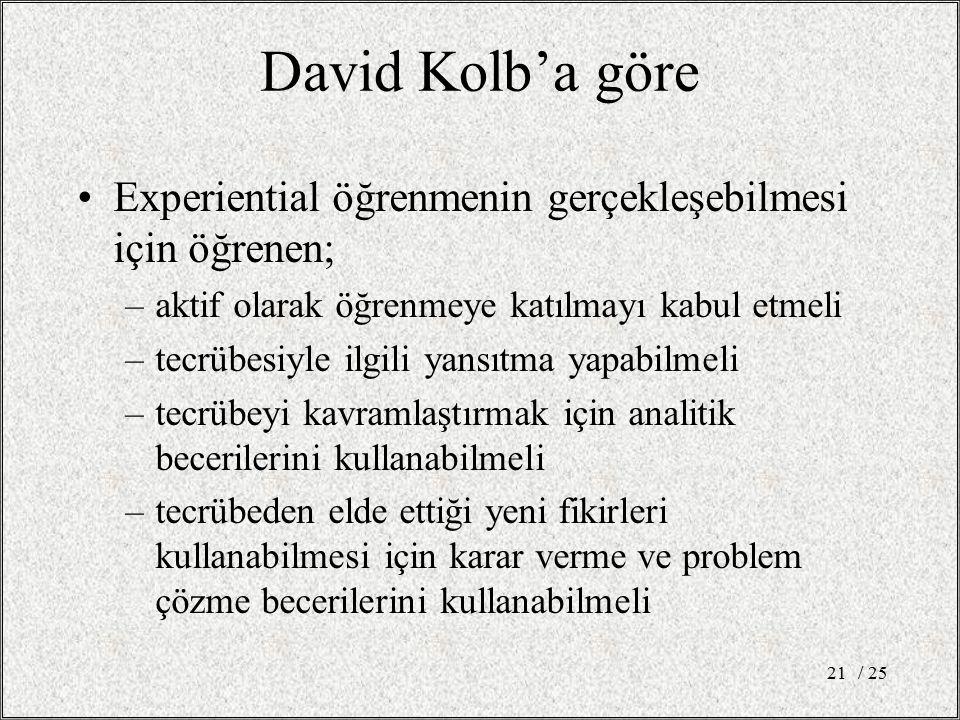 David Kolb'a göre Experiential öğrenmenin gerçekleşebilmesi için öğrenen; aktif olarak öğrenmeye katılmayı kabul etmeli.