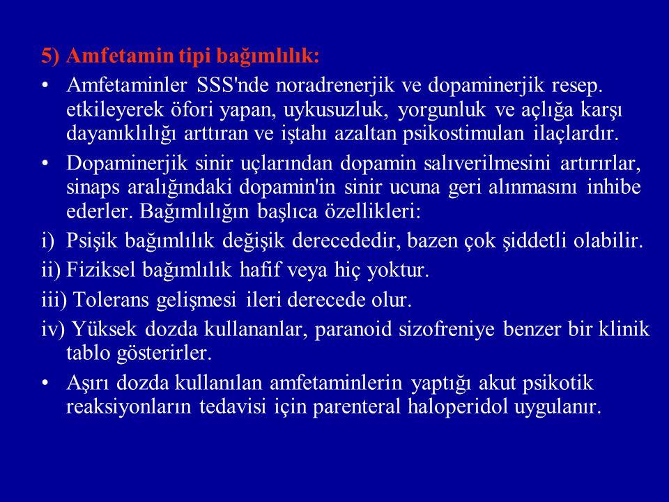 5) Amfetamin tipi bağımlılık: