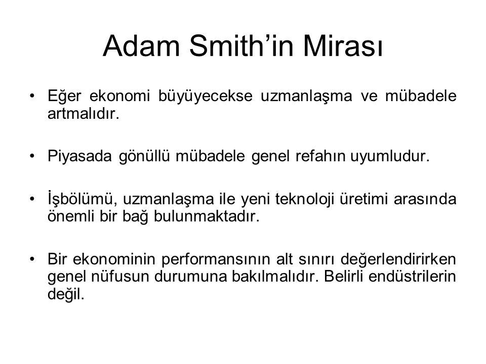 Adam Smith'in Mirası Eğer ekonomi büyüyecekse uzmanlaşma ve mübadele artmalıdır. Piyasada gönüllü mübadele genel refahın uyumludur.