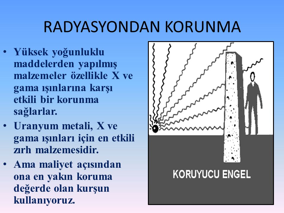 RADYASYONDAN KORUNMA Yüksek yoğunluklu maddelerden yapılmış malzemeler özellikle X ve gama ışınlarına karşı etkili bir korunma sağlarlar.