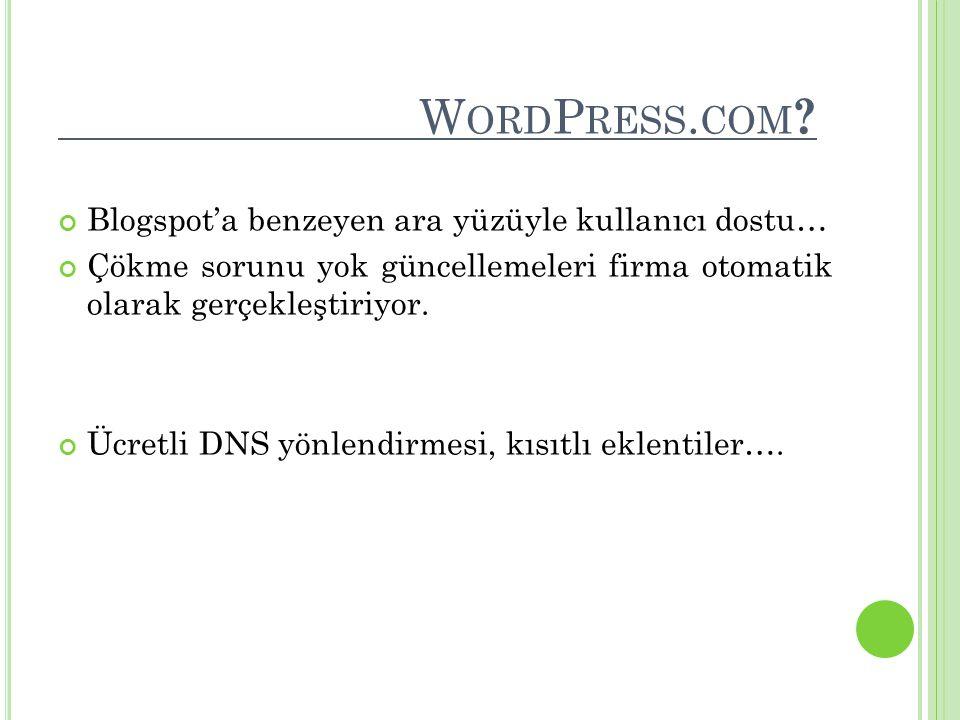 WordPress.com Blogspot'a benzeyen ara yüzüyle kullanıcı dostu…