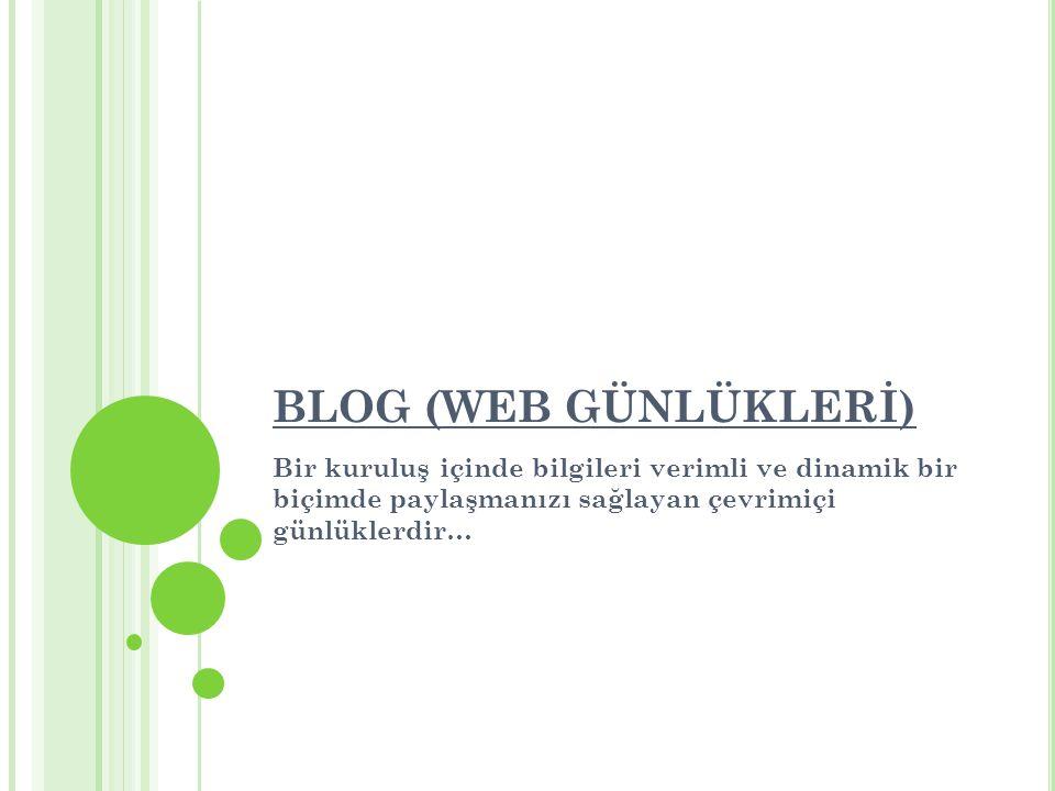 BLOG (WEB GÜNLÜKLERİ) Bir kuruluş içinde bilgileri verimli ve dinamik bir biçimde paylaşmanızı sağlayan çevrimiçi günlüklerdir…