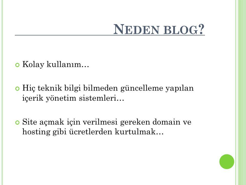 Neden blog Kolay kullanım…