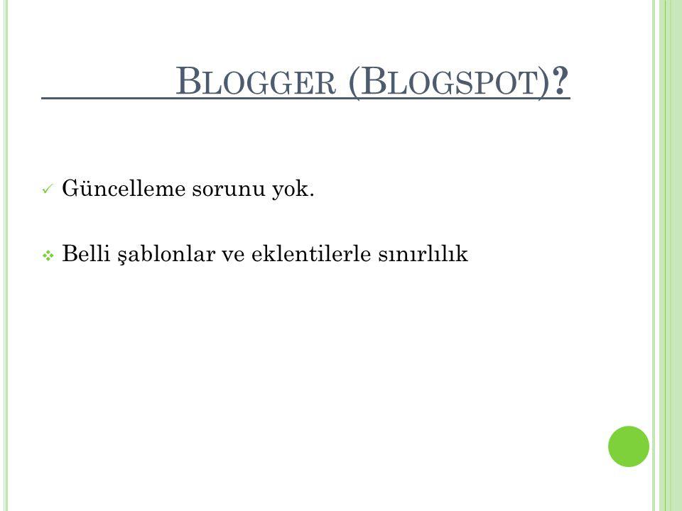 Blogger (Blogspot) Güncelleme sorunu yok.